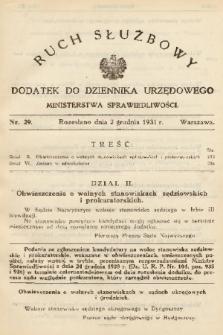 Ruch Służbowy : dodatek do Dziennika Urzędowego Ministerstwa Sprawiedliwości. 1931, nr 29