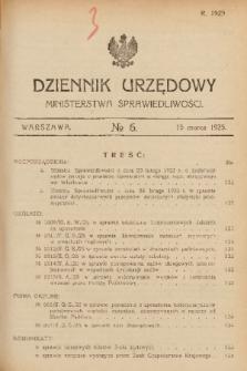 Dziennik Urzędowy Ministerstwa Sprawiedliwości. 1925, nr 6