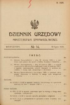 Dziennik Urzędowy Ministerstwa Sprawiedliwości. 1925, nr 14