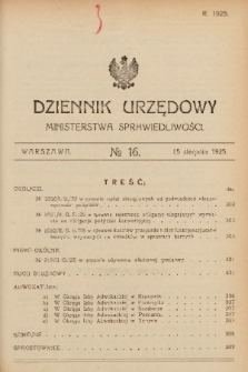 Dziennik Urzędowy Ministerstwa Sprawiedliwości. 1925, nr 16