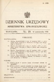 Dziennik Urzędowy Ministerstwa Sprawiedliwości. 1930, nr 19