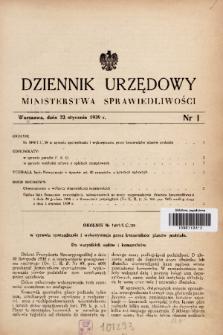 Dziennik Urzędowy Ministerstwa Sprawiedliwości. 1939, nr 1