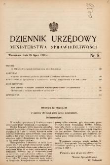Dziennik Urzędowy Ministerstwa Sprawiedliwości. 1939, nr 8