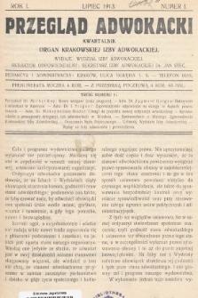 Przegląd Adwokacki : organ Krakowskiej Izby Adwokackiej. 1913, nr1