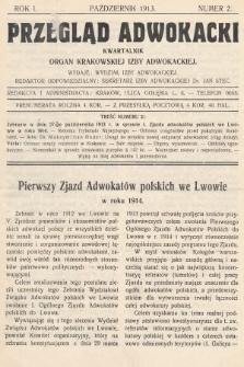 Przegląd Adwokacki : organ Krakowskiej Izby Adwokackiej. 1913, nr2
