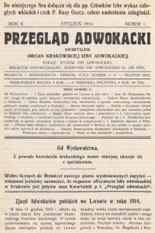 Przegląd Adwokacki : organ Krakowskiej Izby Adwokackiej. 1914, nr1