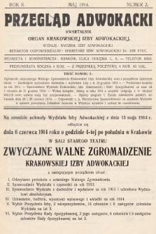 Przegląd Adwokacki : organ Krakowskiej Izby Adwokackiej. 1914, nr2