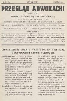 Przegląd Adwokacki : organ Krakowskiej Izby Adwokackiej. 1914, nr3