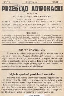 Przegląd Adwokacki : organ Krakowskiej Izby Adwokackiej. 1917, nr1