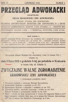 Przegląd Adwokacki : organ Krakowskiej Izby Adwokackiej. 1918, nr1