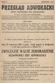 Przegląd Adwokacki : organ Krakowskiej Izby Adwokackiej. 1919, nr1