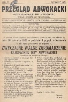 Przegląd Adwokacki : organ Krakowskiej Izby Adwokackiej. 1920, nr1
