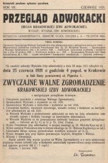Przegląd Adwokacki : organ Krakowskiej Izby Adwokackiej. 1921, nr1