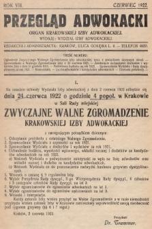 Przegląd Adwokacki : organ Krakowskiej Izby Adwokackiej. 1922, nr1