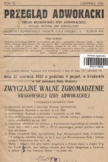 Przegląd Adwokacki : organ Krakowskiej Izby Adwokackiej. 1925, nr1