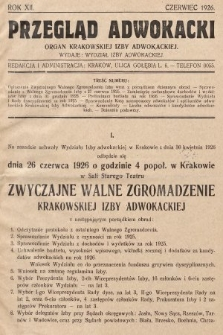 Przegląd Adwokacki : organ Krakowskiej Izby Adwokackiej. 1926, nr1