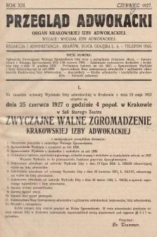 Przegląd Adwokacki : organ Krakowskiej Izby Adwokackiej. 1927, nr1