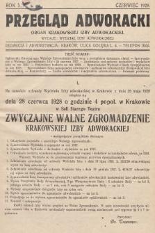 Przegląd Adwokacki : organ Krakowskiej Izby Adwokackiej. 1928, nr1