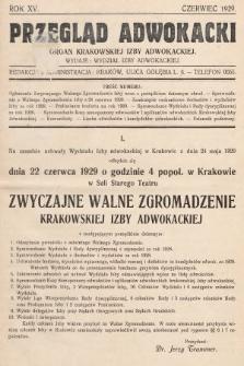 Przegląd Adwokacki : organ Krakowskiej Izby Adwokackiej. 1929, nr1