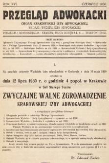 Przegląd Adwokacki : organ Krakowskiej Izby Adwokackiej. 1930, nr1