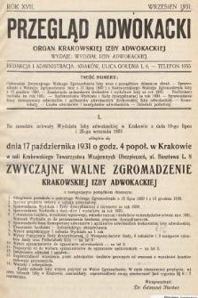 Przegląd Adwokacki : organ Krakowskiej Izby Adwokackiej. 1931, nr1