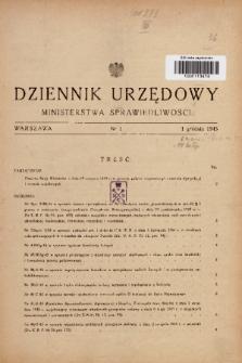 Dziennik Urzędowy Ministerstwa Sprawiedliwości. 1945, nr 1