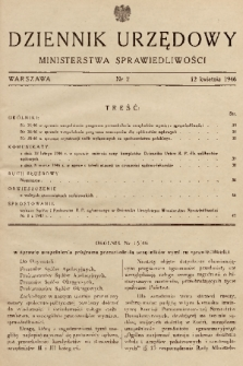 Dziennik Urzędowy Ministerstwa Sprawiedliwości. 1946, nr 2