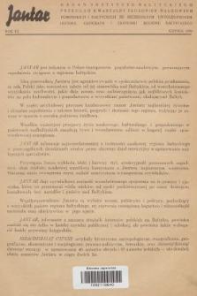 Jantar : organ Instytutu Bałtyckiego : przegląd kwartalny zagadnień naukowych pomorskich i bałtyckich ze szczególnym uwzględnieniem historii, geografii i ekonomii regionu bałtyckiego. 1939, lista współpracowników Jantaru