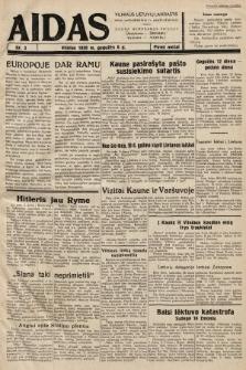 """Aidas : vilniaus lietuvių laikraštis eina antradieniais ir penktadieniais : duoda nemokamus priedus ūkininkams-""""ūkininką, Vaikams-""""Varpelį. 1938, nr3"""
