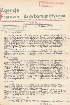 Agencja Prasowa Antykomunistyczna : APA. 1937, nr41