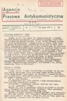 Agencja Prasowa Antykomunistyczna : APA. 1937, nr44