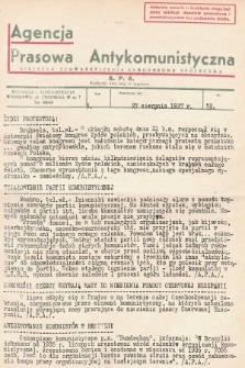 Agencja Prasowa Antykomunistyczna : APA. 1937, nr52