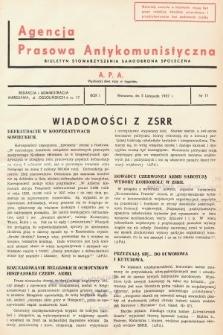 Agencja Prasowa Antykomunistyczna : APA. 1937, nr71