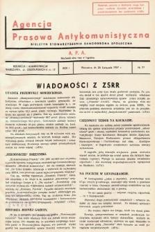 Agencja Prasowa Antykomunistyczna : APA. 1937, nr77