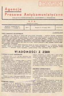 Agencja Prasowa Antykomunistyczna : APA. 1938, nr8
