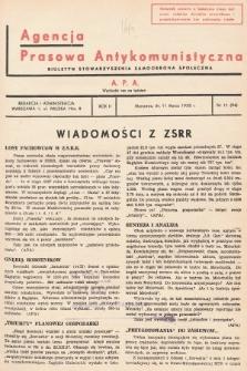 Agencja Prasowa Antykomunistyczna : APA. 1938, nr11