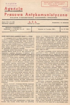 Agencja Prasowa Antykomunistyczna : APA. 1938, nr37