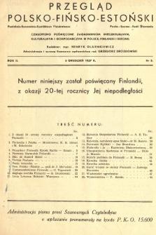 Przegląd Polsko-Fińsko-Estoński = Puolalais-Suomalais-Estiläinen Yieiskataus = Poola-Soome-Eesti Ülevaade : czasopismo poświęcone zagadnieniom intelektualnym, kulturalnym i gospodarczym w Polsce, Finlandii i Estonii. 1937, nr5