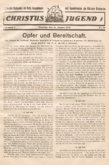 Christus Jugend : Organ des Verbandes der Kath. Jungmänner- und Jugendvereine der Diözese Katowice. 1932, nr12