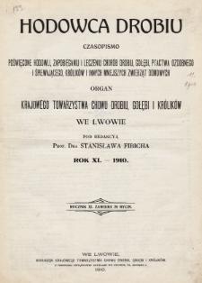 Hodowca Drobiu. 1910, spis rzeczy