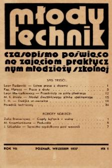 Młody Technik : czasopismo poświęcone zajęciom praktycznym młodzieży szkolnej. 1937, nr 1