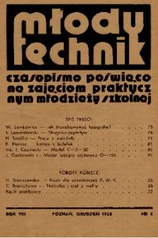 Młody Technik : czasopismo poświęcone zajęciom praktycznym młodzieży szkolnej. 1938, nr 4