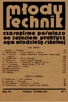 Młody Technik : czasopismo poświęcone zajęciom praktycznym młodzieży szkolnej. 1939, nr 5
