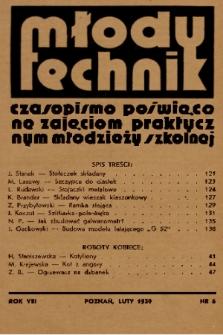 Młody Technik : czasopismo poświęcone zajęciom praktycznym młodzieży szkolnej. 1939, nr 6