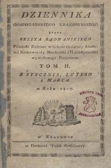 Dziennik Gospodarski Krakowski. 1807, T. 2, Regestr rzeczy