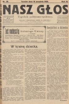 Nasz Głos : tygodnik polityczno-społeczny. 1928, nr38