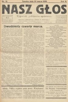 Nasz Głos : tygodnik polityczno-społeczny. 1929, nr12