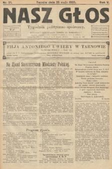 Nasz Głos : tygodnik polityczno-społeczny. 1929, nr21