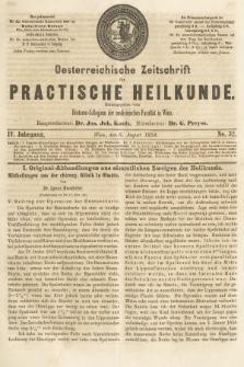 Oesterreichische Zeitschrift für Practische Heikunde. 1858, nr32