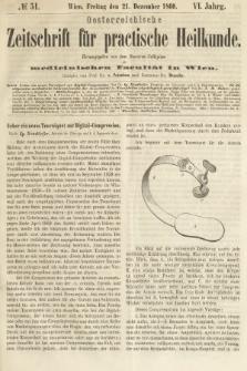 Oesterreichische Zeitschrift für Practische Heikunde : herausgegeben von dem Doctoren - Collegium der Medicinischen Facultät in Wien. 1860, nr51